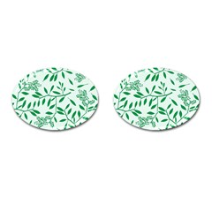 Leaves Foliage Green Wallpaper Cufflinks (oval) by Nexatart