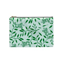 Leaves Foliage Green Wallpaper Cosmetic Bag (medium)  by Nexatart