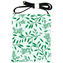 Leaves Foliage Green Wallpaper Shoulder Sling Bags by Nexatart