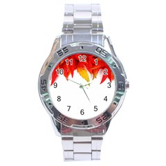 Abstract Autumn Background Bright Stainless Steel Analogue Watch by Nexatart