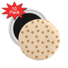 Pattern Gingerbread Star 2 25  Magnets (10 Pack)  by Nexatart