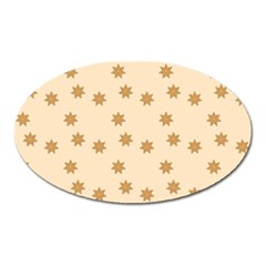 Pattern Gingerbread Star Oval Magnet by Nexatart