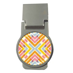 Line Pattern Cross Print Repeat Money Clips (round)  by Nexatart