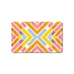 Line Pattern Cross Print Repeat Magnet (name Card) by Nexatart