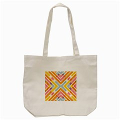 Line Pattern Cross Print Repeat Tote Bag (cream) by Nexatart
