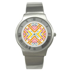 Line Pattern Cross Print Repeat Stainless Steel Watch by Nexatart