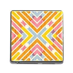 Line Pattern Cross Print Repeat Memory Card Reader (square)