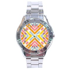 Line Pattern Cross Print Repeat Stainless Steel Analogue Watch by Nexatart