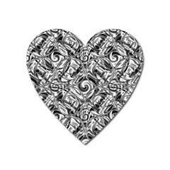 Gray Scale Pattern Tile Design Heart Magnet by Nexatart