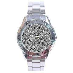 Gray Scale Pattern Tile Design Stainless Steel Analogue Watch by Nexatart