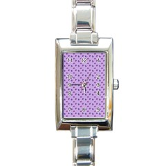Pattern Background Violet Flowers Rectangle Italian Charm Watch by Nexatart