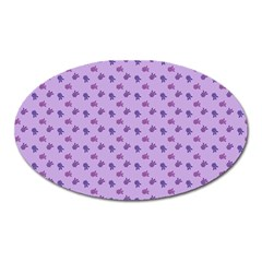 Pattern Background Violet Flowers Oval Magnet by Nexatart