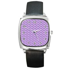 Pattern Background Violet Flowers Square Metal Watch by Nexatart