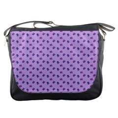 Pattern Background Violet Flowers Messenger Bags by Nexatart