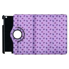 Pattern Background Violet Flowers Apple Ipad 2 Flip 360 Case by Nexatart