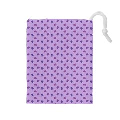 Pattern Background Violet Flowers Drawstring Pouches (large)  by Nexatart