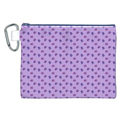 Pattern Background Violet Flowers Canvas Cosmetic Bag (xxl) by Nexatart
