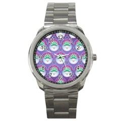Background Floral Pattern Purple Sport Metal Watch by Nexatart