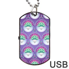 Background Floral Pattern Purple Dog Tag Usb Flash (one Side) by Nexatart