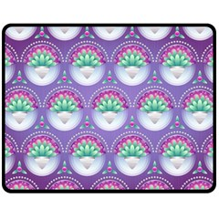 Background Floral Pattern Purple Double Sided Fleece Blanket (medium)  by Nexatart