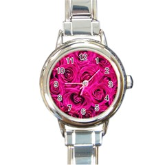 Pink Roses Roses Background Round Italian Charm Watch by Nexatart