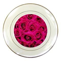 Pink Roses Roses Background Porcelain Plates by Nexatart