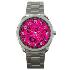 Pink Roses Roses Background Sport Metal Watch by Nexatart