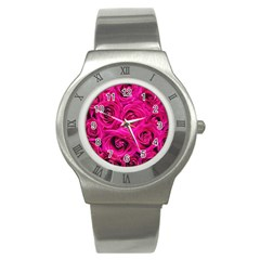Pink Roses Roses Background Stainless Steel Watch by Nexatart