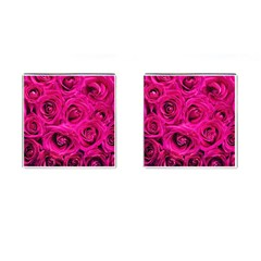 Pink Roses Roses Background Cufflinks (square) by Nexatart
