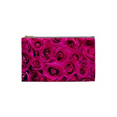 Pink Roses Roses Background Cosmetic Bag (small)  by Nexatart