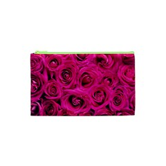Pink Roses Roses Background Cosmetic Bag (xs) by Nexatart