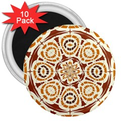 Brown And Tan Abstract 3  Magnets (10 Pack)  by linceazul