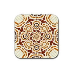 Brown And Tan Abstract Rubber Square Coaster (4 Pack)  by linceazul