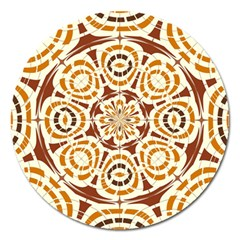Brown And Tan Abstract Magnet 5  (round) by linceazul