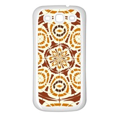 Brown And Tan Abstract Samsung Galaxy S3 Back Case (white) by linceazul