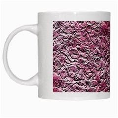 Leaves Pink Background Texture White Mugs by Nexatart
