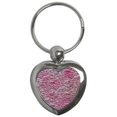 Leaves Pink Background Texture Key Chains (heart)  by Nexatart