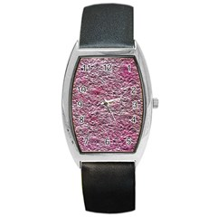 Leaves Pink Background Texture Barrel Style Metal Watch by Nexatart