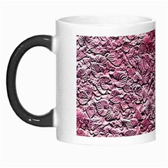 Leaves Pink Background Texture Morph Mugs by Nexatart