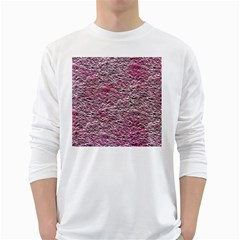 Leaves Pink Background Texture White Long Sleeve T Shirts by Nexatart