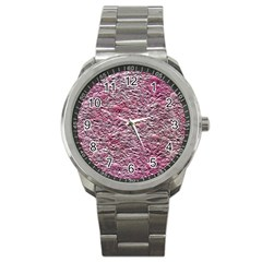Leaves Pink Background Texture Sport Metal Watch by Nexatart
