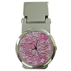 Leaves Pink Background Texture Money Clip Watches by Nexatart
