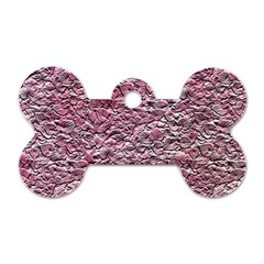 Leaves Pink Background Texture Dog Tag Bone (one Side) by Nexatart