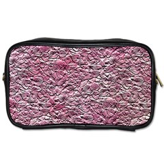 Leaves Pink Background Texture Toiletries Bags 2 Side by Nexatart