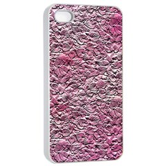 Leaves Pink Background Texture Apple Iphone 4/4s Seamless Case (white) by Nexatart