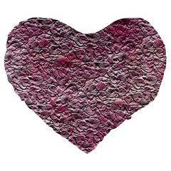 Leaves Pink Background Texture Large 19  Premium Heart Shape Cushions by Nexatart
