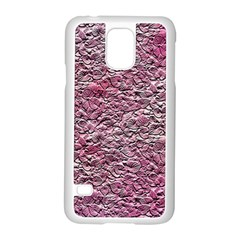 Leaves Pink Background Texture Samsung Galaxy S5 Case (white) by Nexatart