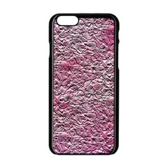 Leaves Pink Background Texture Apple Iphone 6/6s Black Enamel Case by Nexatart