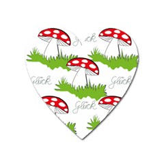 Mushroom Luck Fly Agaric Lucky Guy Heart Magnet by Nexatart
