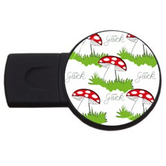Mushroom Luck Fly Agaric Lucky Guy Usb Flash Drive Round (4 Gb) by Nexatart